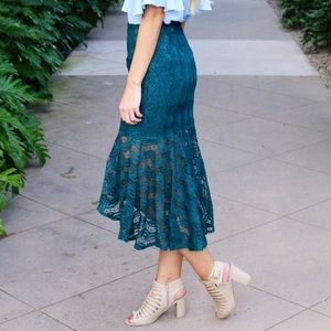 teal lace mermaid skirt